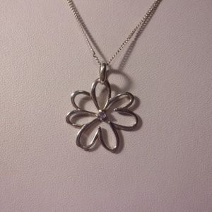 """Sterling Silver Daisy Flower Pendant Necklace 22"""""""